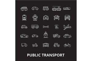 Public transport editable line icons