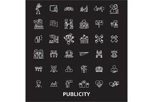 Publicity editable line icons vector