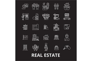 Real estate editable line icons