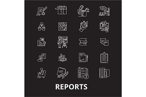 Reports editable line icons vector