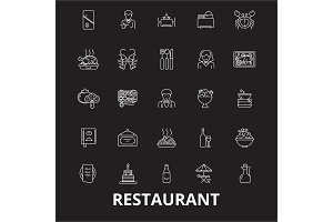 Restaurant editable line icons