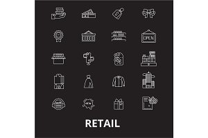Retail editable line icons vector