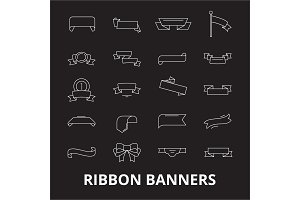 Ribbon banners editable line icons