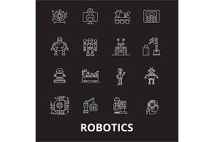Robotics editable line icons vector