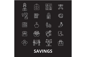 Savings editable line icons vector
