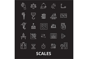 Scales editable line icons vector
