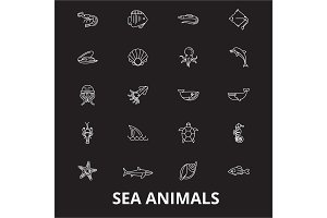 Sea animals editable line icons