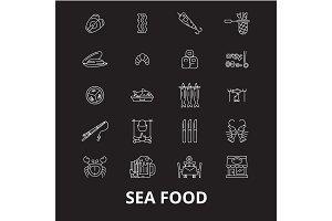Sea food icons editable line icons