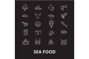Sea food restaurant editable line