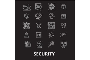 Security editable line icons vector