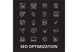 Seo optimization editable line icons