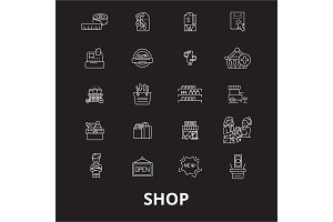 Shop editable line icons vector set