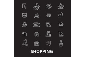 Shopping editable line icons vector