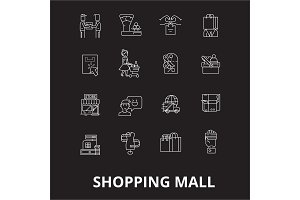 Shopping mall editable line icons