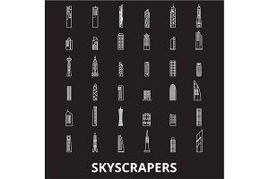 Skyscrapers editable line icons