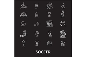 Soccer editable line icons vector