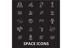 Space editable line icons vector set