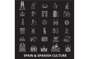Spain editable line icons vector set