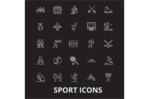 Sport editable line icons vector set