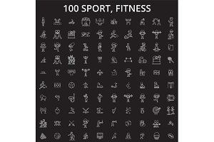 Sport, fitness editable line icons