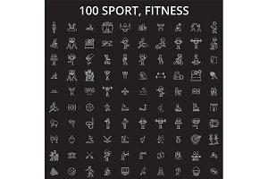 Sport, fitness editable line icons
