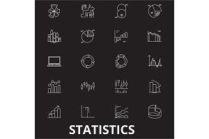 Statistics editable line icons