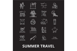 Summer travel editable line icons