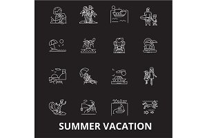 Summer vacation editable line icons