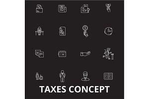 Taxes editable line icons vector set