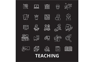 Teaching editable line icons vector