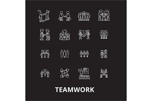 Teamwork editable line icons vector