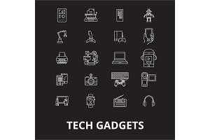 Tech gadgets editable line icons