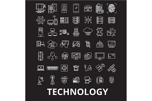 Technology editable line icons
