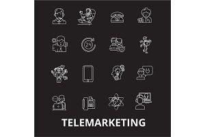 Telemarketing editable line icons