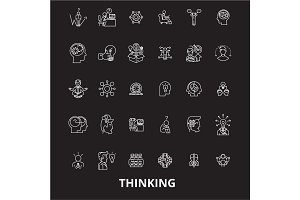 Thinking editable line icons vector