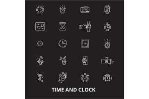 Time and clock editable line icons