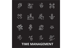 Time management editable line icons