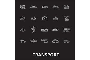 Transport editable line icons vector