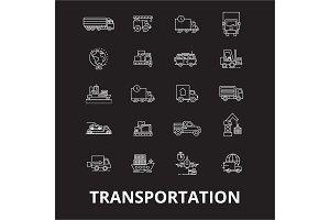 Transportation editable line icons