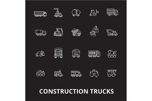 Trucks construction editable line
