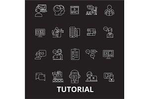 Tutorials editable line icons vector