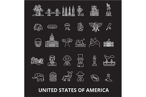 Usa editable line icons vector set