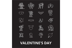 Valentine's day editable line icons