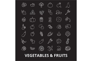 Vegetables editable line icons