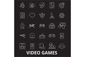 Video games editable line icons