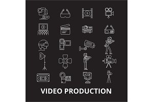 Video production editable line icons