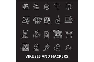 Viruses and hackers editable line