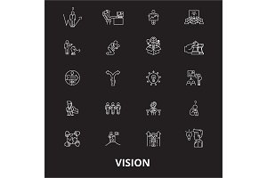 Vision editable line icons vector