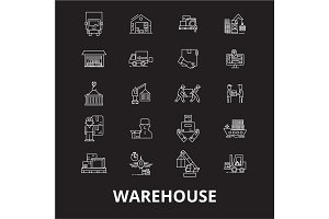 Warehouse editable line icons vector