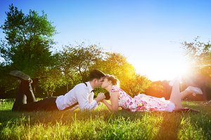 Couple in love in romantic scenery